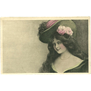 Vintage French Postcard of Lady in Large Hat