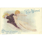 Vintage Postcard of Woman with Cherub - To Woman - Copyright 1905 Ullman