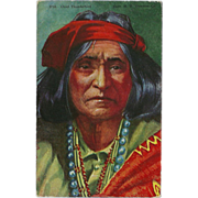 Vintage Postcard of Native American Indian Chief Thunderbird