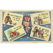 SOLD Vintage Patriotic Uncle Sam Postcard Holding Four Postcards - Red Tag Sale Item