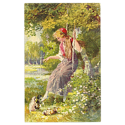 Vintage Art Postcard of Lady in Swing with Three Puppies - Artist Signed