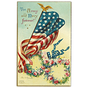 SOLD Vintage Embossed 1908 Postcard by Ellen Clapsaddle of Flag - Army and Navy Forever - Red