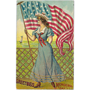 SOLD Embossed Vintage 1910 Patriotic Postcard of Lady Holding Flag - Memorial Day
