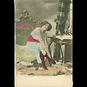 Risque Vintage Tinted Postcard of Lady in Bedroom - Mosinger Croatia