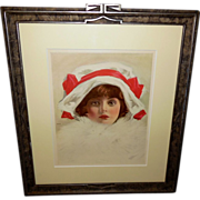 Henry Hutt Vintage Print of Young Girl with White Fur - Carved Frame