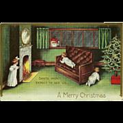 Embossed Vintage Christmas Postcard - Santa and Children
