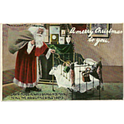 Vintage Christmas Postcard with Santa and Child in Crib