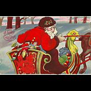 Vintage Embossed Christmas Postcard -Santa in Sleigh