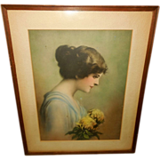 Zula Kenyon Vintage Print of Beautiful Lady with Flowers