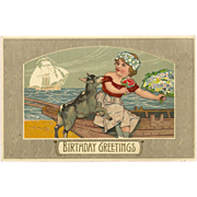 Rotograph Birthday Postcard of Girl with Goat