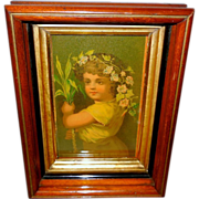 Petite Chromolithograph of Birthday Girl in Deep Walnut Frame