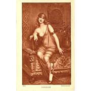 French Risque Vintage Sepia Postcard of Partially Nude Dancer by Martin-Kavel