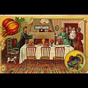 Embossed 1908 Postcard of Thanksgiving Family Dinner