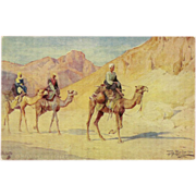 Raphael Tuck Oilette Artist Signed Egyptian Postcard - Camels in the Desert