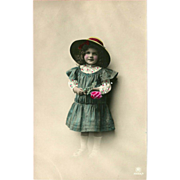 Rotophot Tinted Postcard of Young Girl in Big Hat