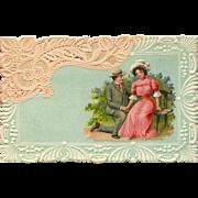 Embossed German Romantic Postcard Resembling Lace