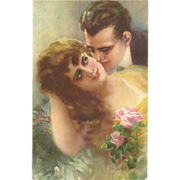 Romantic Vintage Postcard of Man and Woman