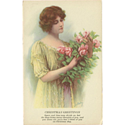 SOLD Christmas Postcard of Lovely Brunette with Flowers - Artist Signed