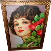 Earl Christy Beautiful Brunette with Red Roses