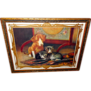 Puppy and Kittens Calendar Print by John Henry Dolph Copyright 1900
