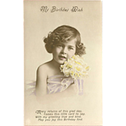 Vintage Tinted Photo Birthday Postcard of Young Girl with Yellow Flowers - 2 of 2