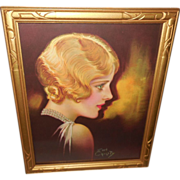 Earl Christy Art Deco Style Blonde in Carved Frame