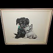 Puppy and Kitten Vintage Print by Janusz Grabianski