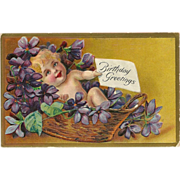 John Winsch Embossed Birthday Greetings Postcard with Baby in Basket