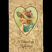 Undivided Embossed Valentine Postcard of Girl in Heart