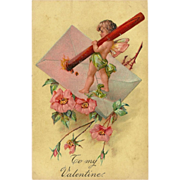 Embossed PFB Valentine Postcard with Cherub