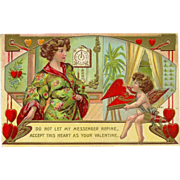 Embossed 1910 Valentine Postcard with Lady and Cherub