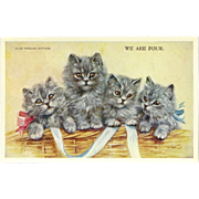 Artist Signed Mabel Gear Vintage Postcard of Four Blue Persian Kittens