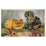Artist Signed Mabel Gear Vintage Postcard of Two Cats as Fireside Friends