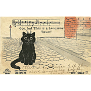 Undivided Postcard with Black Cat and Music