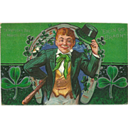 Embossed St. Patrick's Day Postcard of Leprechaun Postmarked 1913