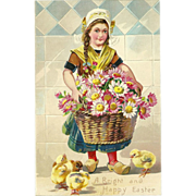 Raphael Tuck Undivided Embossed Easter Postcard of Dutch Girl and Chicks