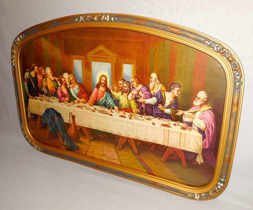 Vintage Print Of The Last Supper Jesus And Apostles