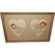 Charlotte Becker Heart Shaped Mat of Babies in Two Tone Wood Frame