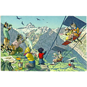 SOLD Max Kunzli Dressed Cats Postcard of Fun in the Mountains