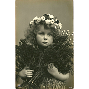 SOLD Real Photo Postcard of Young Girl with Flowers