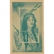 Vintage Postcard of Native American Indian Maiden