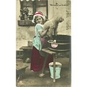 SOLD Rotophot 1907 Real Photo Tinted Postcard of Girl Bathing Dog - 2 of 2