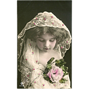 SOLD Rotophot Photo Postcard of Beautiful Girl with Veil and Embellishments - 1 of 4