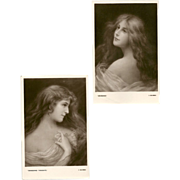 Pair of Postcards by E.W. Savory - Beautiful Women Series - 5 of 5