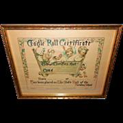 Cradle Roll Certificate 1928 by Clara M. Burd