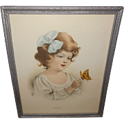 Vintage Print of Young Girl with Butterfly Titled 'Seeing'