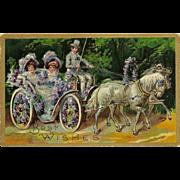 Embossed German Postcard of Ladies in Horse Drawn Carriage