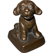 Cast Iron Smiling Bonzo Dog Paperweight with Bronze Finish