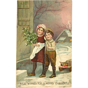 Vintage German EAS Christmas Embossed Postcard of Two Children and Sled