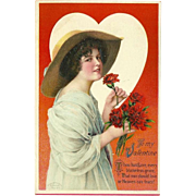 Wolf & Co. 1912 Embossed Valentine Postcard of Lady with Red Flowers